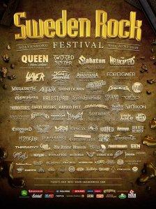 Cartaz do Sweden Rock de 2016 que marcou o retorno do The Hellacopters ao palco após um hiato de 8 anos