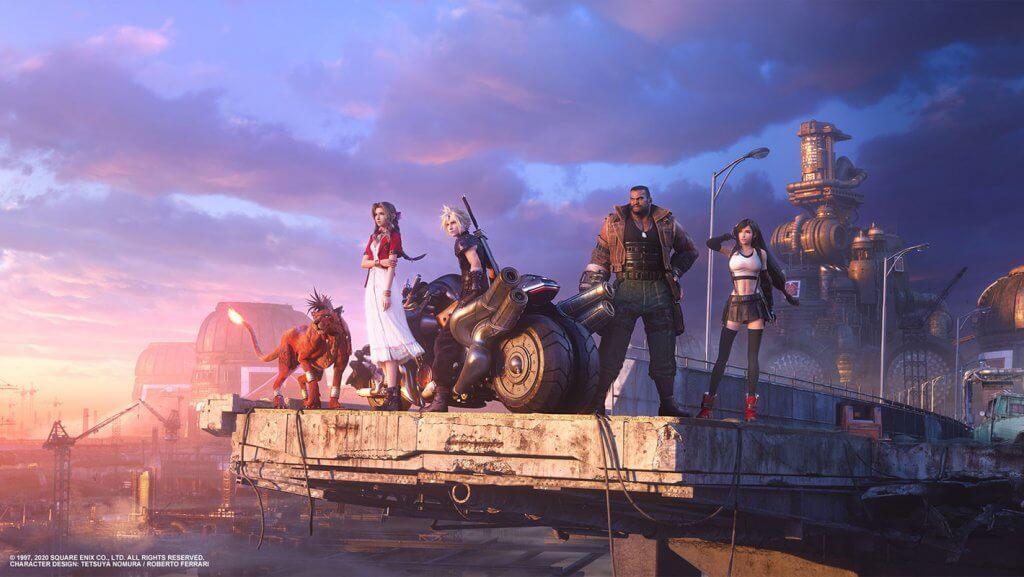 Vista belíssima de uma autoestrada de Midgar e os personagens olhando para o horizonte e o futuro desconhecido que os aguarda!