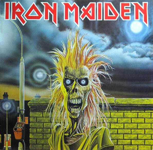 "Capa original do álbum ""Iron Maiden"", ilustrada por Derek Riggs"